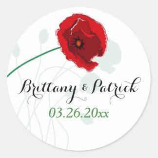 "1.5"" Wedding Sticker   Red Poppy   Black, Green"