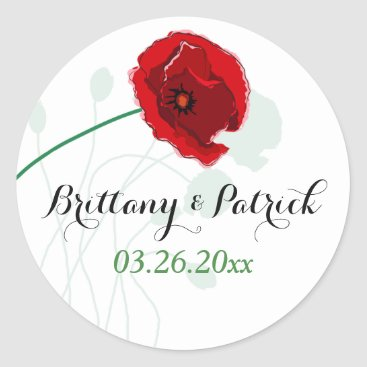 "1.5"" Wedding Sticker | Red Poppy | Black, Green"