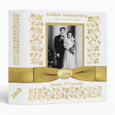 """1.5"""" White 50th Wedding Anniversary Photo Binder"""