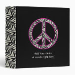 "1.5""  Zebra Print Peace Sign Binder"