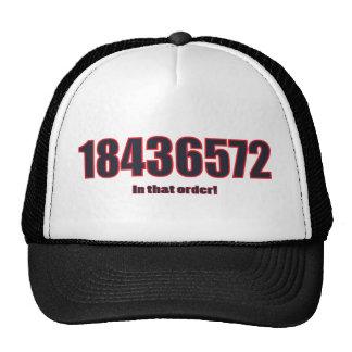 1-8-4-3-6-5-7-2 in that order! trucker hat