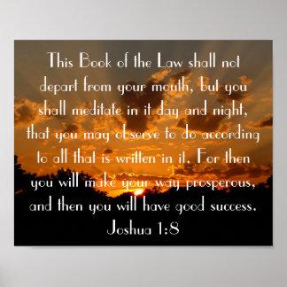 1:8 de Joshua del verso de la biblia de la puesta  Póster
