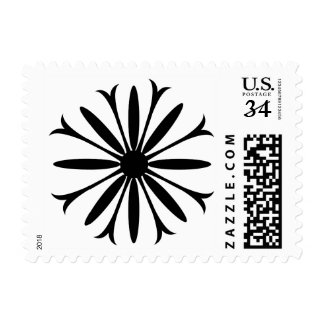 "1.8"" x 1.3"" BLACK & WHITE FLOWER LOGO Postage"