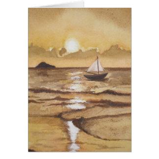 1:9 de Juan, puesta del sol de oro sobre el océano Tarjeta De Felicitación