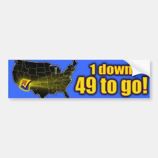 ¡1 abajo, 49 a ir! - Inmigración de Arizona Pegatina Para Auto