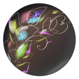 1 ABSTRACT DIGITAL REALISM COLORFUL RANDOM FLORAL PARTY PLATE