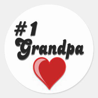 #1 abuelo - el día del abuelo pegatinas redondas
