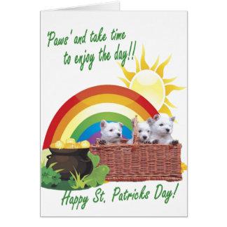 1. Adorable Westie Puppies St. Patricks Card