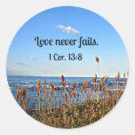 1 amor del 13:8 de los Corinthians nunca falla Pegatina Redonda