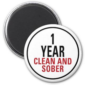 1 año limpio y de sobrio imán redondo 5 cm