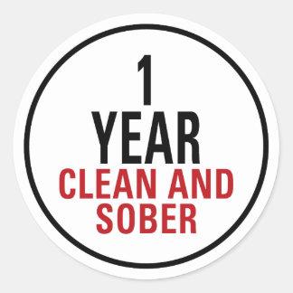 1 año limpio y de sobrio pegatina redonda