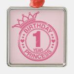 1 año - princesa del cumpleaños - rosa ornato