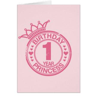1 año - princesa del cumpleaños - rosa tarjeta de felicitación