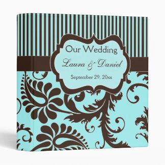 """1"""" Aqua, Brown, White Stripe Damask Wedding Binder"""