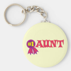 Basic Button Keychain with #1 Aunt Award design