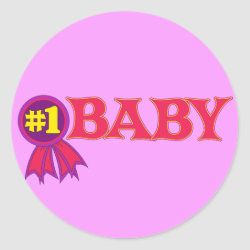 Round Sticker with #1 Baby Award design