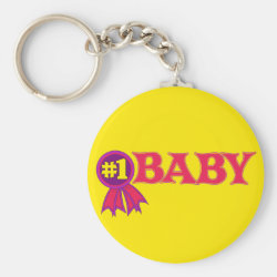 Basic Button Keychain with #1 Baby Award design