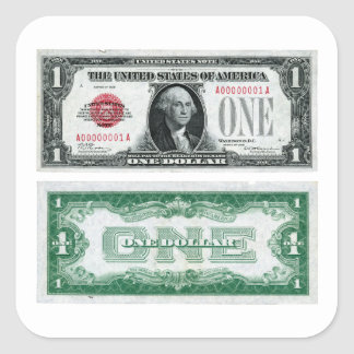 $1 Banknote Legal Tender Series of 1928 Square Sticker