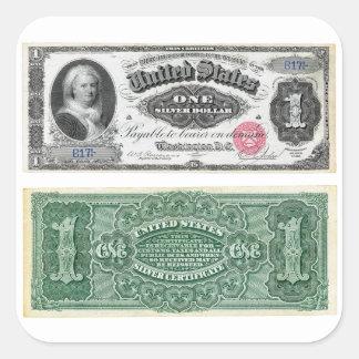 $1 Banknote Silver Certificate 1886 Square Sticker