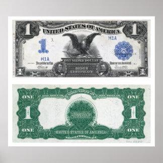 $1 Banknote Silver Certificate 1889 Print