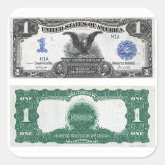 $1 Banknote Silver Certificate 1889 Square Sticker