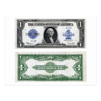 $1 Banknote Silver Certificate 1923 Postcard