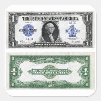 $1 Banknote Silver Certificate 1923 Square Sticker