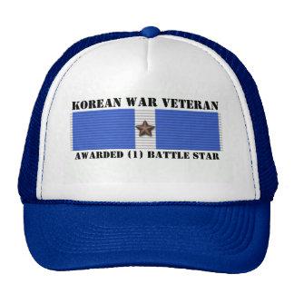 1 BATTLE STAR KOREAN WAR VETERAN TRUCKER HAT