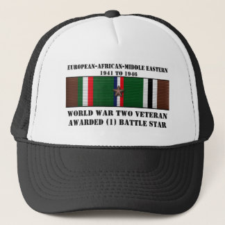 1 BATTLE STAR / WORLD WAR II VETERAN TRUCKER HAT