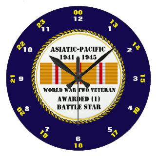1 BATTLE STAR WWII Asiatic Pacific Veteran Large Clock