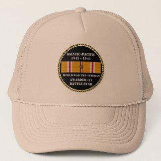 1 BATTLE STAR WWII Asiatic Pacific Veteran Trucker Hat