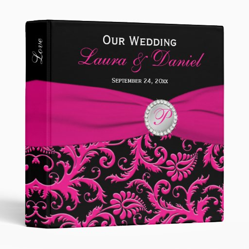 """1"""" Black and Pink Damask Wedding Binder"""