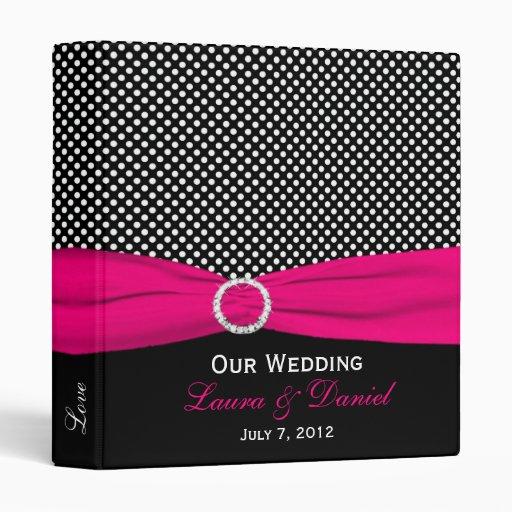 """1"""" Black, White, and Pink Polka Dot Wedding Binder"""