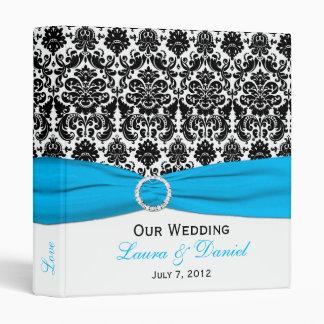 "1"" Blue, Black, and White Damask Wedding Binder"