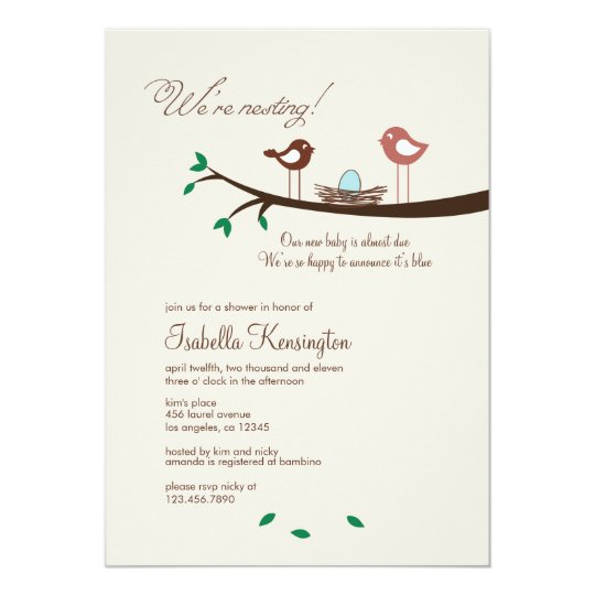 1 Blue Egg Nesting Birds Baby Shower Invitation