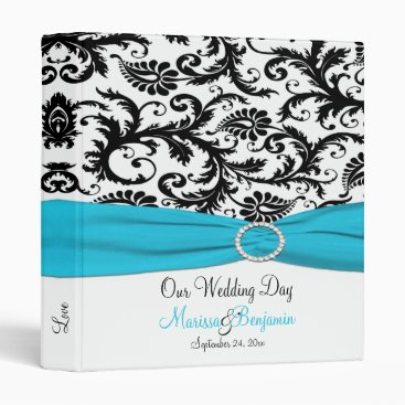 "1"" Blue, White, and Black Damask Wedding Binder"
