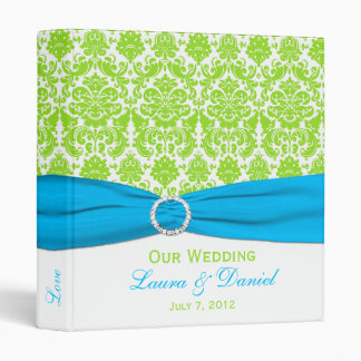 "1"" Blue, White and Lime Damask Wedding Binder"