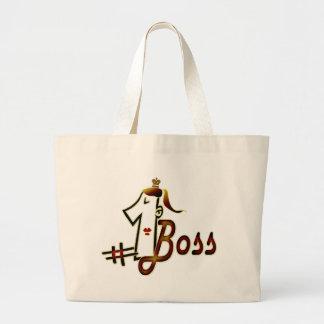 #1 boss large tote bag