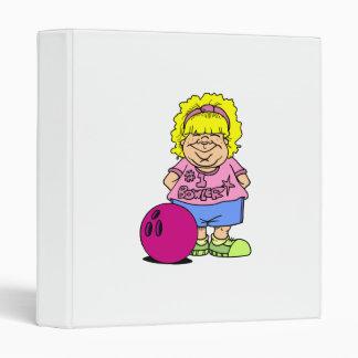 #1 Bowler Bowling Girl Cartoon Binders