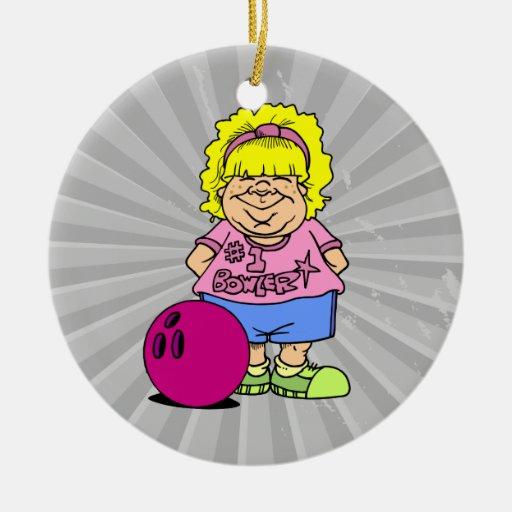 #1 Bowler Bowling Girl Cartoon Christmas Tree Ornament