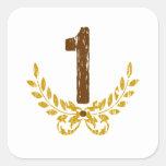 #1 Brown y guirnalda del oro Colcomanias Cuadradas Personalizadas