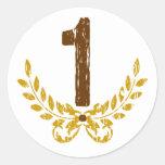 #1 Brown y guirnalda del oro Pegatina Redonda
