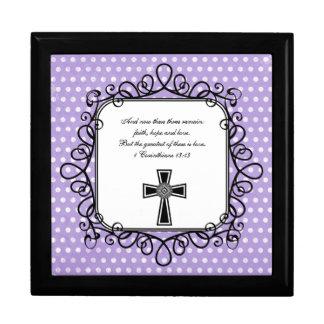 1 caja del recuerdo del verso de la biblia del 13: joyero cuadrado grande