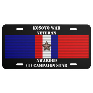 1 CAMPAIGN STAR KOSOVO WAR VETERAN LICENSE PLATE