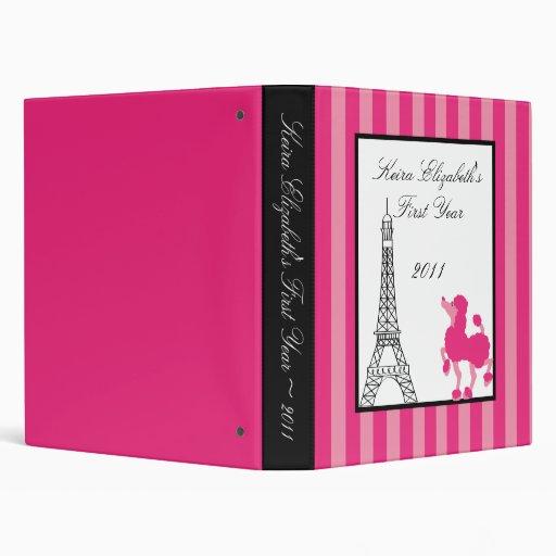 "1"" caniche París Eiffel del rosa del libro de recu Carpeta 1"""