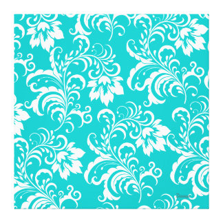 1 Canvas Teal Blue White Damask Floral