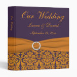 "1"" carpeta anaranjada y púrpura del boda del damas"
