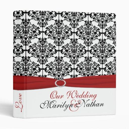 """1"""" carpeta roja, blanca y negra del boda del damas"""