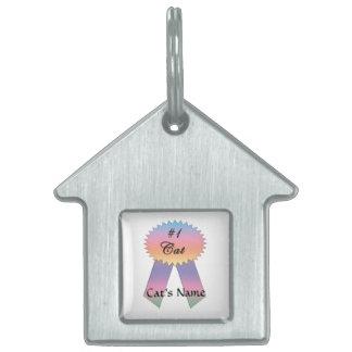 #1 Cat Prize Ribbon - Pastel Pet Name Tag