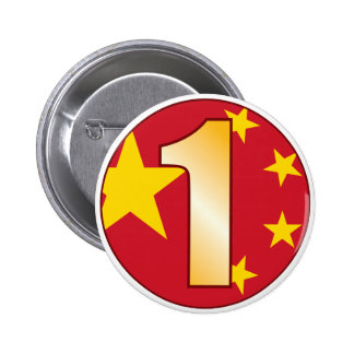 1 CHINA Gold Pinback Button